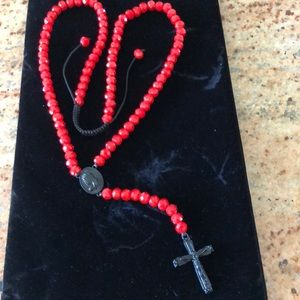 Red and black CZ rosary cross Jesus long necklace